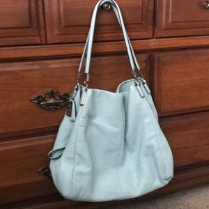 Coach Light Blue Leather Medium Sized Handbag